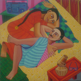 Couple Digital Print by Thota Laxminarayana,Traditional, Traditional
