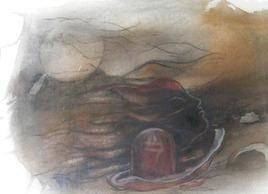 Jyotir Linga 2 by Ravinder Sharma, Conceptual, Conceptual Painting, Watercolor on Paper, Brown color