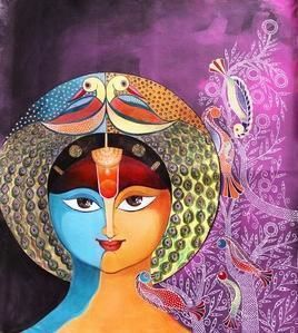 Birds 2 by Meenakshi Jha Banerjee, Traditional, Traditional Painting, Acrylic on Canvas, Purple color