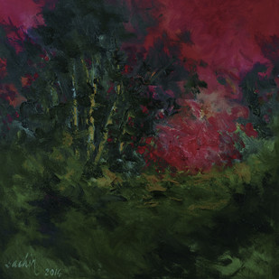 Red Sky by Sachin Upadhye, Impressionism, Impressionism Painting, Oil on Canvas, Green color