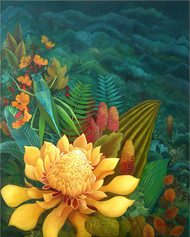 Nature 2 by Debarati Roy Saha, Decorative, Decorative Painting, Oil on Canvas, Green color
