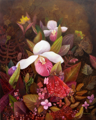 Nature 4 by Debarati Roy Saha, Decorative, Decorative Painting, Oil on Canvas, Brown color