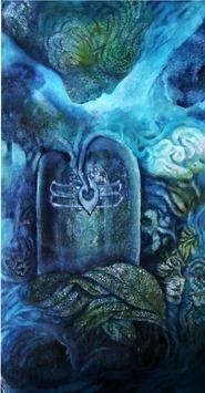 Shakti Punj by Ravinder Sharma, Conceptual, Conceptual Painting, Acrylic on Paper, Blue color