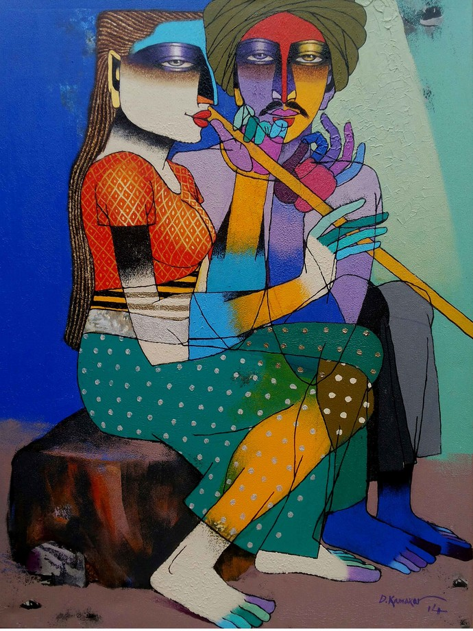 Playing Flute 5 by Dayanand Kamakar, Decorative, Decorative Painting, Acrylic on Canvas, Brown color