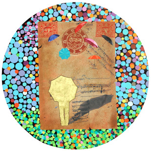 The Stamp of Life by Malchand Pareek, Conceptual, Conceptual Painting, Mixed Media on Canvas, Brown color