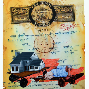 The Stamp of Life by Malchand Pareek, Conceptual, Conceptual Painting, Mixed Media on Canvas, Beige color