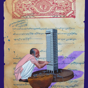 Stamp of Life 10 by Malchand Pareek, Conceptual, Conceptual Painting, Mixed Media on Canvas, Beige color