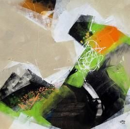 Layers of Imagination by Shirish Deshpande, Abstract, Abstract Painting, Acrylic on Canvas, Beige color