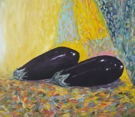 Still Life with Brinjals by Animesh Roy, Impressionism, Impressionism , Oil on Linen, Beige color