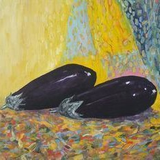 Still Life with Brinjals by Animesh Roy, Impressionism, Impressionism Painting, Oil on Linen, Beige color