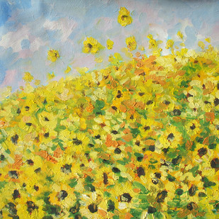 Sun Flowers In Summer 1 by Animesh Roy, Impressionism, Impressionism Painting, Oil on Linen, Green color