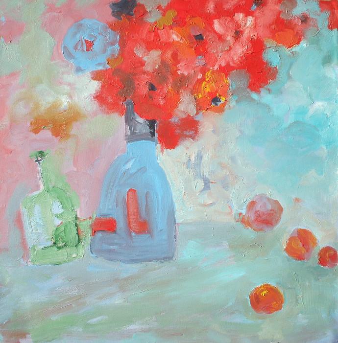 Still Life-17 by Animesh Roy, Impressionism, Impressionism , Oil on Linen, Cyan color