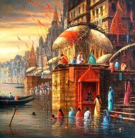 BenarasGhat by Paramesh Paul, , , Brown color