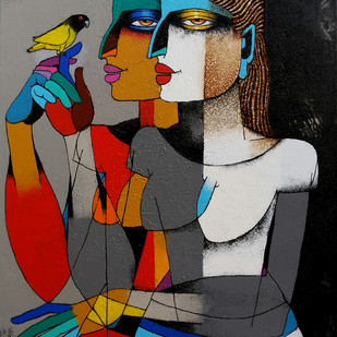 Friends with Love Birds by Dayanand Kamakar, Decorative, Decorative Painting, Acrylic on Canvas, Gray color