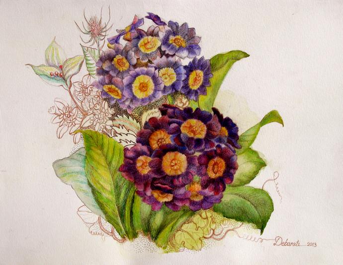 Mauve Magic by Debarati Roy Saha, Decorative, Decorative Painting, Watercolor on Paper, Beige color