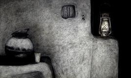 VillageHouse by Avinash Mokashe, Painting, Mixed Media on Canvas, Gray color