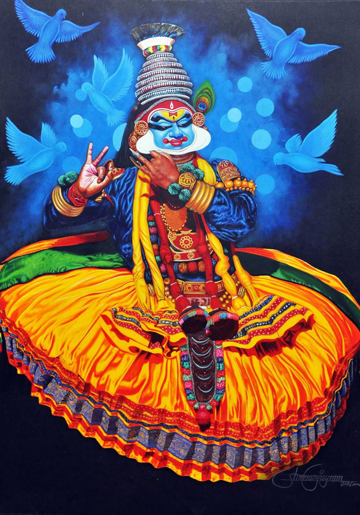 Krishna by Prashant Yampure, Realism, Realism Painting, Acrylic on Canvas, Brown color