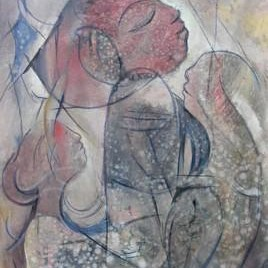 Ecstasy 1 by Ravinder Sharma, Conceptual, Conceptual Painting, Acrylic on Paper, Gray color
