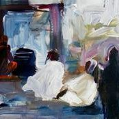 Shiv Vandana by Ravinder Sharma, Impressionism, Impressionism Painting, Mixed Media on Paper, Gray color