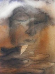 Meditation 3 by Ravinder Sharma, Conceptual, Conceptual Painting, Watercolor on Paper, Brown color
