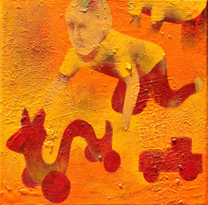 Athkheliya 20-1 by Lakhan Singh Jat, Decorative, Decorative, Impressionism, Impressionism Painting, Acrylic on Canvas, Orange color
