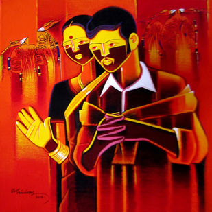 Untitled536 by Srinivas Tailor, Painting, Acrylic on Canvas, Red color