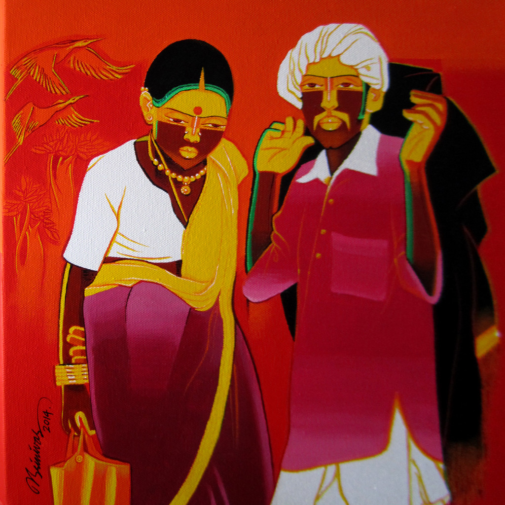 Untitled518 by Srinivas Tailor, Painting, Acrylic on Canvas, Red color
