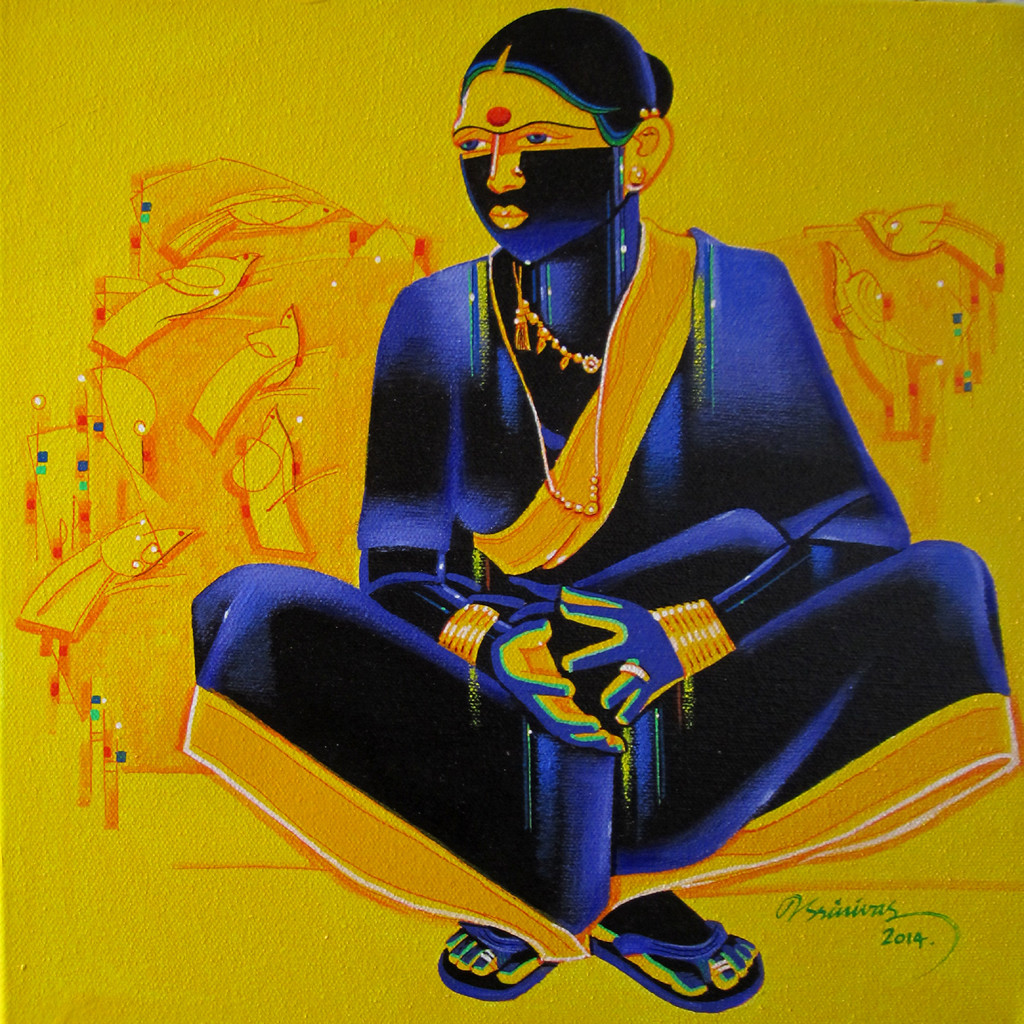 Untitled511 by Srinivas Tailor, Painting, Acrylic on Canvas, Green color