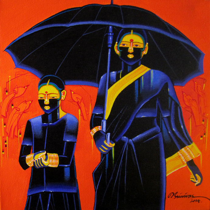 Untitled510 by Srinivas Tailor, Painting, Acrylic on Canvas, Blue color