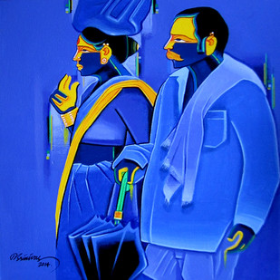 Untitled509 by Srinivas Tailor, Painting, Acrylic on Canvas, Blue color
