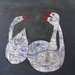 ThreeFriends by Rathindranath Chowdhury, Painting, Watercolor on Board, Gray color