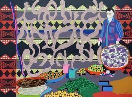 Globalization AV by Ravindra Kumar Kumawat, Pop Art, Pop Art Painting, Acrylic on Canvas, Brown color