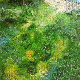 Wild Flowers in the Meadows by Animesh Roy, Impressionism, Impressionism , Oil on Linen, Green color