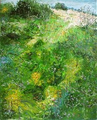 Wild Flowers in the Meadows by Animesh Roy, Impressionism, Impressionism Painting, Oil on Linen, Green color