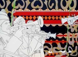 GlobalizationAII_1 by Ravindra Kumar Kumawat, Painting, Acrylic on Canvas, Gray color