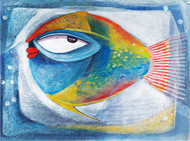 Fish IV by Ratna Bose, Decorative, Decorative Painting, Acrylic on Paper, Cyan color