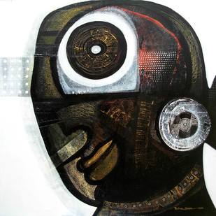 Enigma by Ratna Bose, Painting, Acrylic on Canvas, Gray color