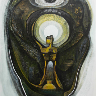 The Existential Sight by Ratna Bose, Painting, Mixed Media on Canvas, Brown color