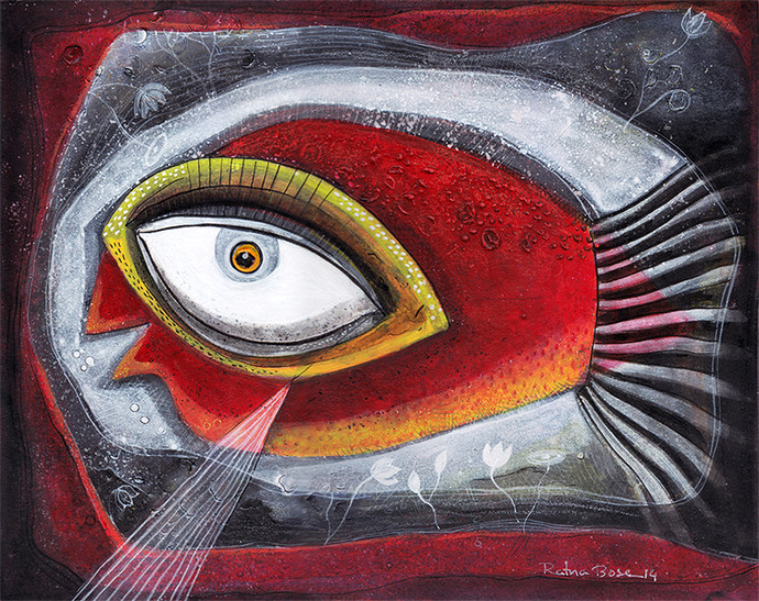 Fish V by Ratna Bose, Decorative, Decorative Painting, Acrylic on Board, Brown color