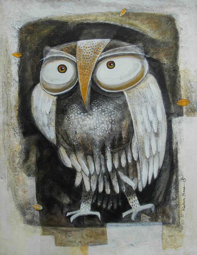Owl V by Ratna Bose, Painting, Acrylic on Canvas, Brown color