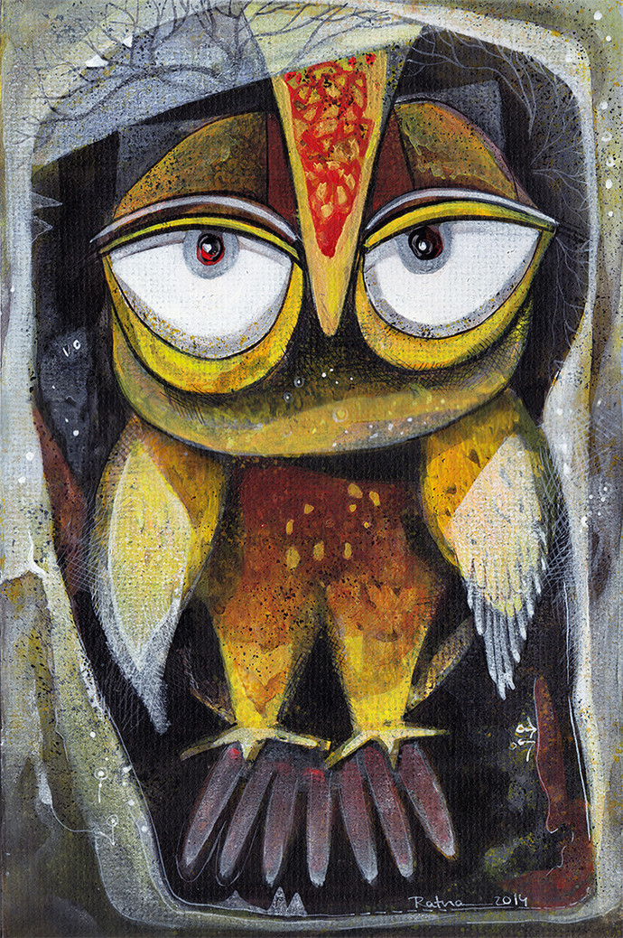 Owl VI by Ratna Bose, Decorative, Decorative Painting, Acrylic on Board, Gray color