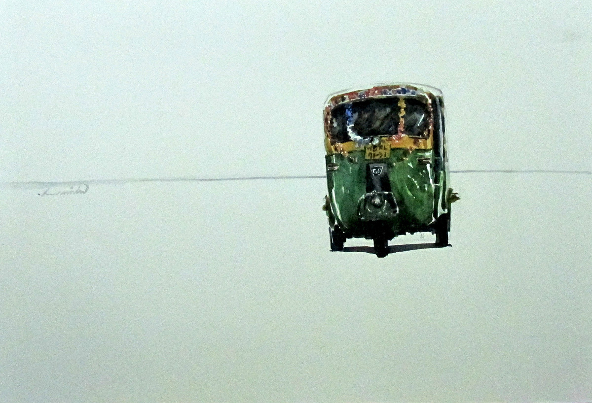 Auto with Loneliness_1 by Asim Paul, , , Cyan color