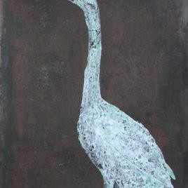 Lonely II by Rathindranath Chowdhury, Decorative, Decorative Painting, Mixed Media on Board, Gray color