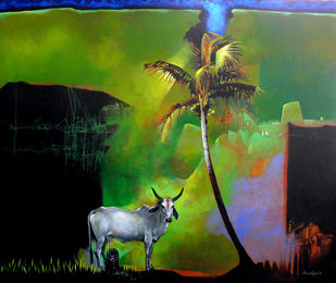 Story of a God Digital Print by Pradip Sengupta,Conceptual, Conceptual
