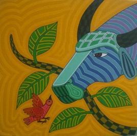 Buffalo1 by Thota Laxminarayana, , , Brown color