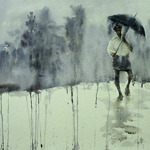 Monsoon 1 by Asim Paul, Impressionism, Impressionism Painting, Watercolor on Paper, Beige color
