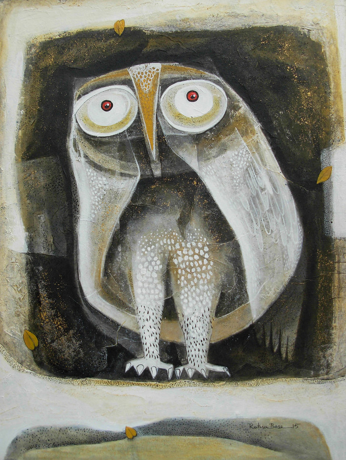Owl VII by Ratna Bose, Painting, Acrylic on Canvas, Brown color