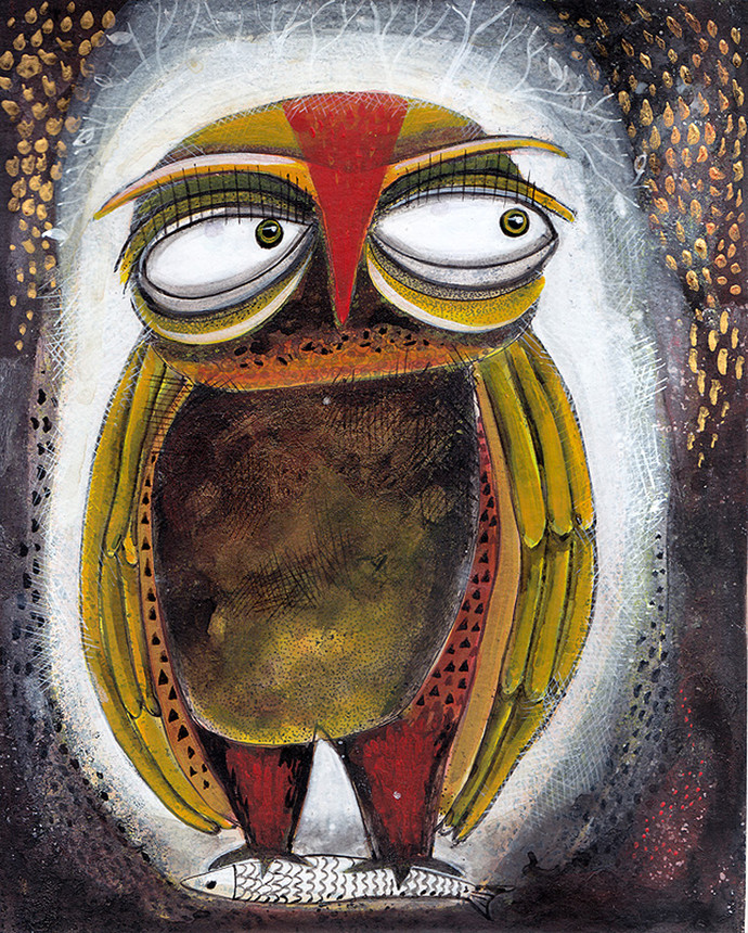 Owl VIII by Ratna Bose, Decorative, Decorative Painting, Acrylic on Board, Brown color