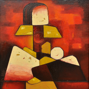 Mother and Child 01 - Painting by Dipak Asole
