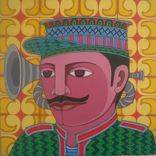 Dafli wale by Thota Laxminarayana, Traditional, Traditional Painting, Acrylic on Canvas, Green color